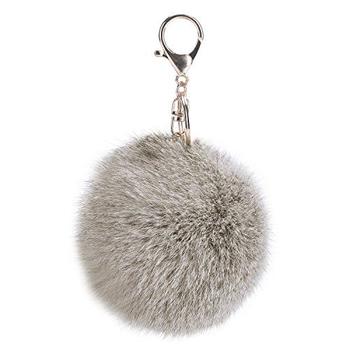 Leegoal Novelty Rabbit Fur Ball Charm Key Chain for Car Key Ring or Bag (Gray)