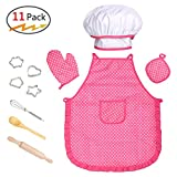 Kids Cooking Baking Set, Kids Chef Costume Pretend Role Play Set 11 PCS