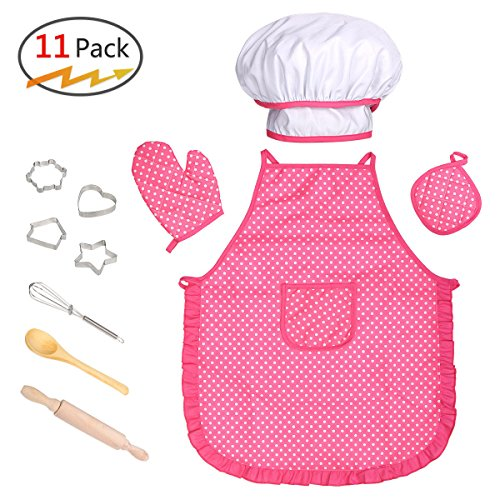 Kids Cooking Baking Set, Kids Chef Costume Pretend Role Play Set 11 PCS by RocDai