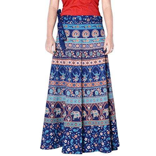Wear Wrap Around Skirt (Sttoffa High Waist Skirt Ethnic Style Cotton Wrap Around Skirt Turquoise Color Free Size Skirt 36 Length Skirt D3)