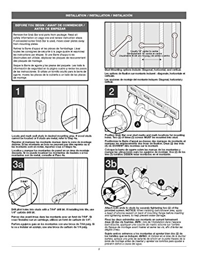 Delta DAS5316-SN Bathroom Shower Safety Grab Bar with 16'' x 1 1/4'' Angled Decorative, Satin Nickel by Delta (Image #2)