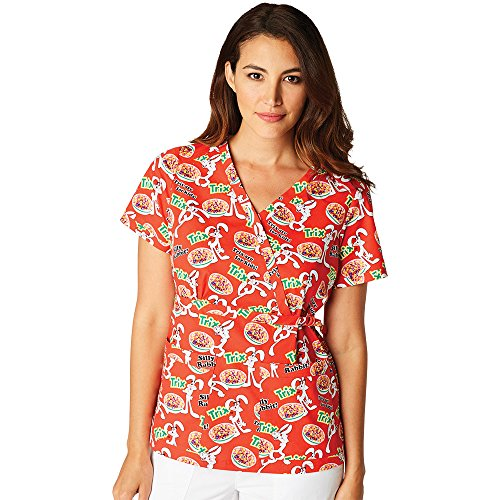 koi-by-general-mills-womens-luna-stretch-mock-wrap-trix-print-scrub-top-large-print