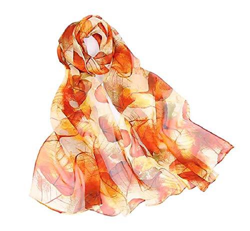 (AliceLife Fashion Print Silk Feeling Scarfs for Women Lightweight Sheer Scarf Shawl Wrap Scarves, Leaves&orange, 16050CM)