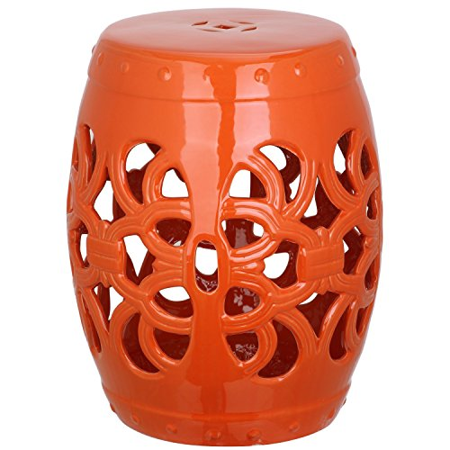 Safavieh Castle Gardens Collection Imperial Vine Orange Glazed Ceramic Garden Stool (Decorative Garden Stool)