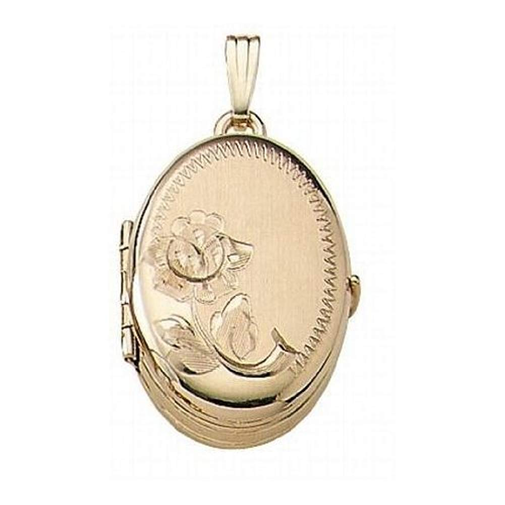 Solid 14K Yellow Gold Oval Four Photo Locket 3/4 Inch X 1 Inch Solid 14K Yellow Gold