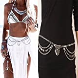 Naomi Gypsy TurkishMetal Dangle Multilayer Sequins Tassel Belly Chain Boho Bohemian Shimmy Belt Dance Show Waist Chain Silver one size