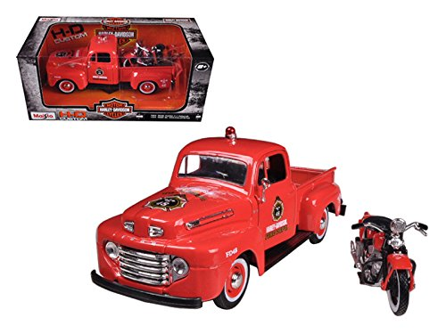 Maisto 1948 Ford F-1 Pickup Truck Harley Davidson Fire With 1936 El Knucklehead Harley Davidson Motorcycle 1/24 Model