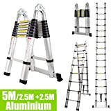 DIY 5M/2.5M+ 2.5M Foldable Ladder A Frame Telescopic Aluminium Extendable Extension 16 Steps 150kg Max. Capacity Multipurpose Portable Loft Attic Ladders
