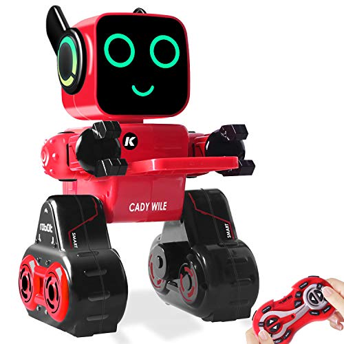 Remote Control Toy Robot for kids,Touch & Sound Control, Speaks, Dance Moves, Plays Music, Light-up Eyes & Mouth. Built-in Coin Bank. Programmable, Rechargeable RC Robot Kit for Boys, Girls All Ages.]()