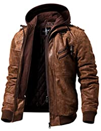 FLAVOR Men's Real Leather Jacket Removable Hoodie Brown Genuine Suede Pigskin