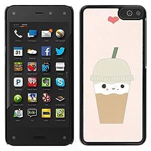 Helado de café Corazón lindo de Brown - Metal de aluminio y de plástico duro Caja del teléfono - Negro - Amazon Fire Phone