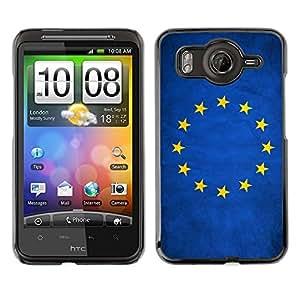 Caucho caso de Shell duro de la cubierta de accesorios de protección BY RAYDREAMMM - HTC G10 - European Union EU Grunge Flag