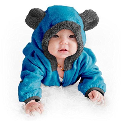 Funzies Baby Bunting Fleece Hooded Romper Bodysuit (BearBlue18-24m)