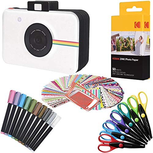 (Kodak 2x3 Premium ZINK Photo Paper (50 Sheets) + Camera Scrapbook + 100 Photo Border Stickers + 10 Markers + 6 Colorful Edge Scissors (Compatible With Printomatic) )