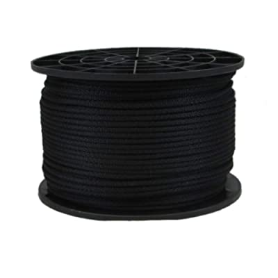 1/8 inch Black Polyester Rope - 500 Foot Spool | Industrial Grade - High UV and Abrasion Resistance - Low Stretch