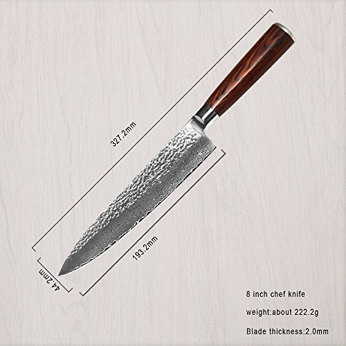 XYJ VG10 Damascus Steel Kitchen Knife Set 8''Chef Color Wood Handle by XYJ (Image #1)