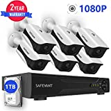 8CH 1080P Security Camera System,SAFEVANT Outdoor Indoor Home Surveillance System with Hard Drive,6pcs 1080P(2.0MP) CCTV Cameras with Night Vision