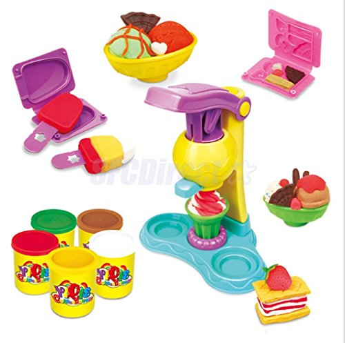 MAZIMARK-Ice Cream Maker Play Dough Mold Set With Soft Clay Plasticine FOR Kids Gifts by MAZIMARK