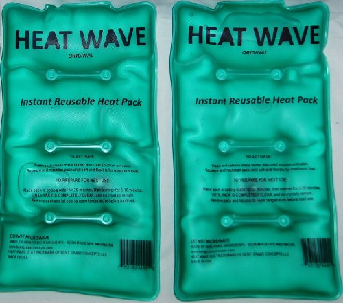 HEAT WAVE Instant Reusable Heat Pack - MEDIUM 2-Pack VALUE-PACK - Premium Quality - Medical Grade - MADE IN USA! (not China) (Instant Heat Pack)