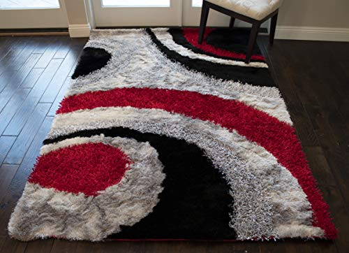 8'x10' Red Black Charcoal Gray Grey Silver 3D Shag Shaggy Area Rug Carpet Striped Woven Braided Hand Knotted Feizy Accent Fluffy Fuzzy Modern Contemporary Medium Pile Shimmer Soft Plush Signature 289