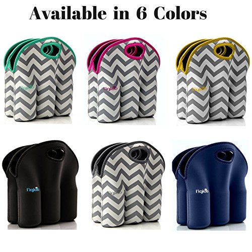 Neoprene 6 Pack Bottle Carrier, Extra Thick Insulated Baby Bottle Cooler Bag Keeps Baby Bottles Cold or Warm Great as Baby Shower Gift (gray chevron aqua trim) by Vettore (Image #7)