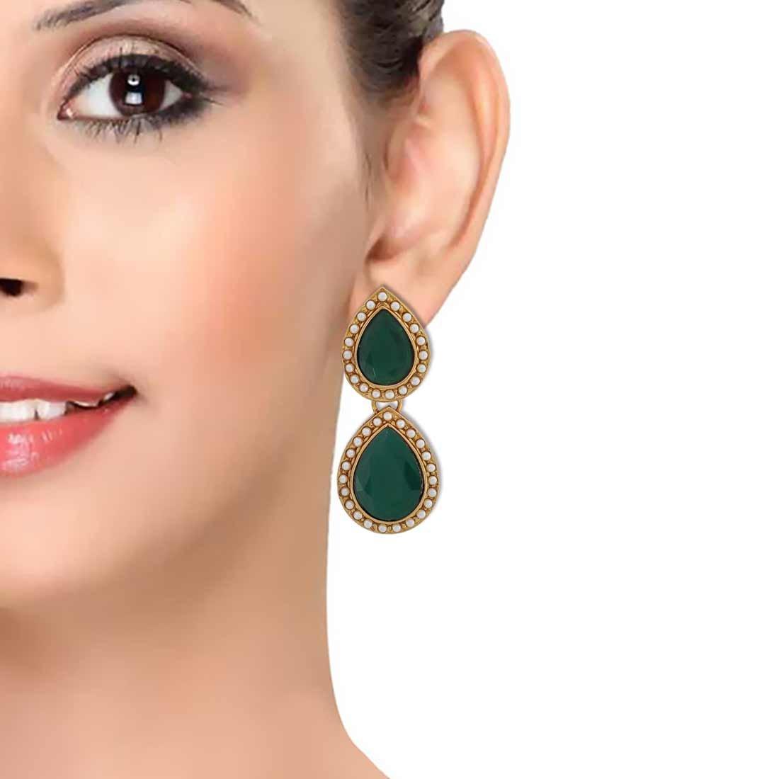 Maayra Wedding Festival Earrings Alloy Dangler Drop Green Twin Drop Pearls Jewellery