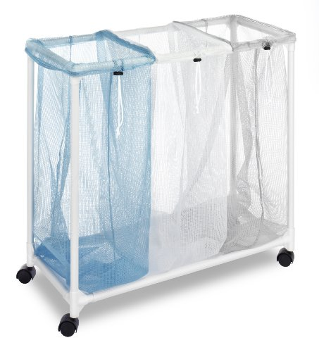 Whitmor Triple Laundry Sorter with Wheels (Laundry Sorter With Mesh Bags)
