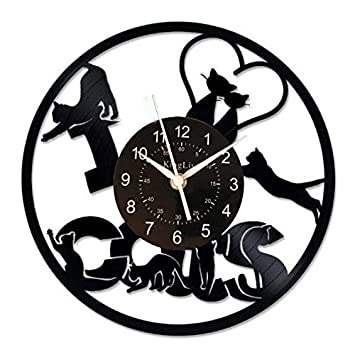 Amazon.com: JUNYE - Reloj de pared de vinilo con diseño de ...