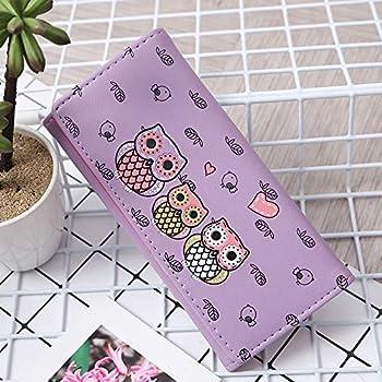 Multicolor Simple Retro Owl Printing Long Wallet Coin Purse Card Holders Handbag (Purple)