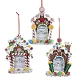 Homeford Gingerbread Candy House Photo Frame Christmas Ornaments, 3-Piece