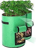 Tvird Potato Grow Bags 2 Pack 10 Gallon Potato Growing Bags Potato Planting Bag with Flap and Handles for Potato, Tomato,...