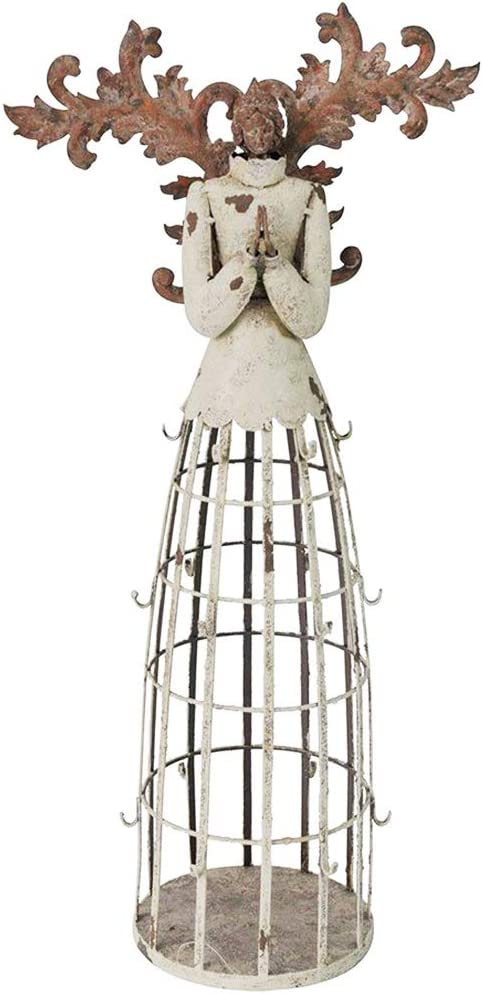 """WHY Decor Elegant Metal Garden Angel Statue with Red Wings Indoor Outdoor Praying Angel Yard Art Decor Lawn Patio Decorations Holiday Decor Angels Garden Statue 23"""""""