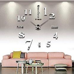 Qpower Modern Mute DIY Large Wall Clock 3D Sticker Home Office Decor Gift (silver)