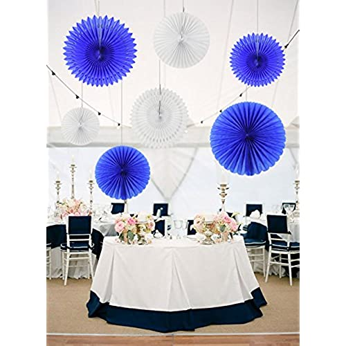 Navy blue and peach wedding decorations amazon furuix honeycomb tissue paper fan set in white navy blue mixed sizes for baby shower decoration boy birthday decor wedding decor party decor wall hanging junglespirit Images