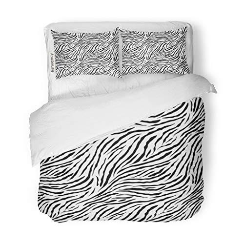 SanChic Duvet Cover Set Silver Monochrome Zebra Pattern Halftone Black Chaotic White Duotone Decorative Bedding Set Pillow Sham Twin (Silver Zebra Cover)
