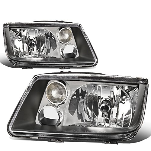 (For 99-05 Volkswagen Jetta MK4 A4 Typ 1J Pair of Black Housing Clear Corner Headlight Lamp Replacement)