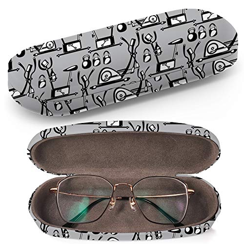 Hard Shell Glasses Protective Case Box + Cleaning Cloth - Fits most Eyeglasses and Sunglasses (Simulators On ()