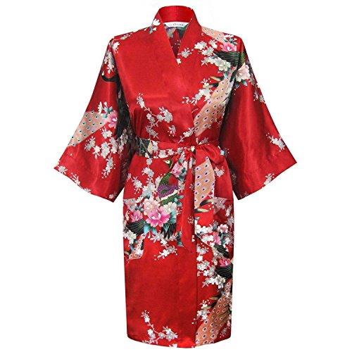 Camisón Semitransparente & Kimono de los New albornoz chino janpanes Mujer Seda Bata de Baño Tocador de pavo real Rojo rosso