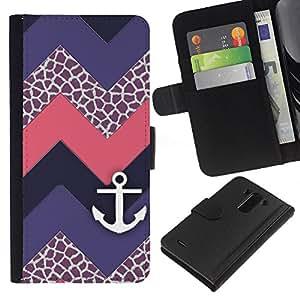 EJOY---La carpeta del tirón la caja de cuero de alta calidad de la PU Caso protector / LG G3 / --Chevron púrpura del velero