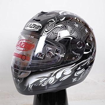 Casco integral Lazer Dayton pik-ace, colores negro, gris brillante, talla XL