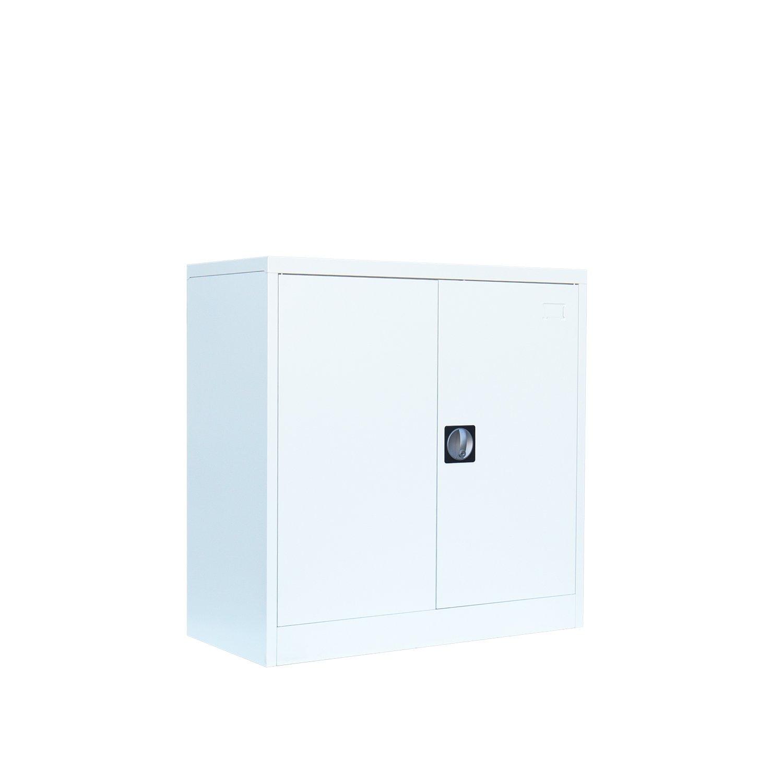 Lüllmann Aktenschrank Stahlschrank Büroschrank Sideboard 90x90x42 Weiß Weiß Weiß 567617 Flügeltürschrank 7e3bd4