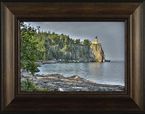 In the Bay Light By Todd Thunstedt 20x26 Lake Superior Agate Lighthouse Sailing Tall Ship Ocean Sea Split Rock Two Harbors North Shore Drive Duluth Framed Art Print Wall Décor Picture Lake Superior Lighthouses