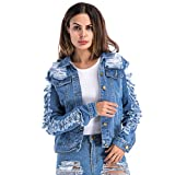 Product review for VICVIK Womens Blue Distressed Button Long Sleeve Denim Jean Jacket Coat With Pockets Regular and Plus Size