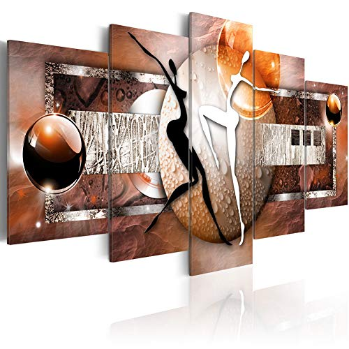 Modern Canvas Wall Art Prints Dance of Elements Earth Painting Abstract People Giclee Artwork 5 Pieces Picture Framed Home Decor Easy Hanging (CL04, Small W40