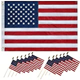 NECOA Small American Flags-Quality Printed Mini US American Hand Held Stick Flags Spear Top (5×8 inch, 200 pack) Review