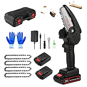 Mini Chainsaw Cordless Battery Powered Chainsaw with 2pcs Battery and 4pcs Chain 4 inch Handheld Portable Lightweight…