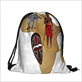 Thick Drawstring Pocket Safari Africa Map and Tribal Cultural Symbols with a Native Local Man Art Work Print with Drawstring Closure 13.5''W x 16''H