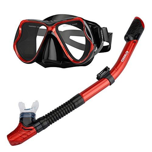 Enkeeo Scuba Diving Snorkeling Snorkel Set Anti Fog Goggles/ Swimming Cap/ Waterproof Phone Case/ Gear Bag , Red & Black
