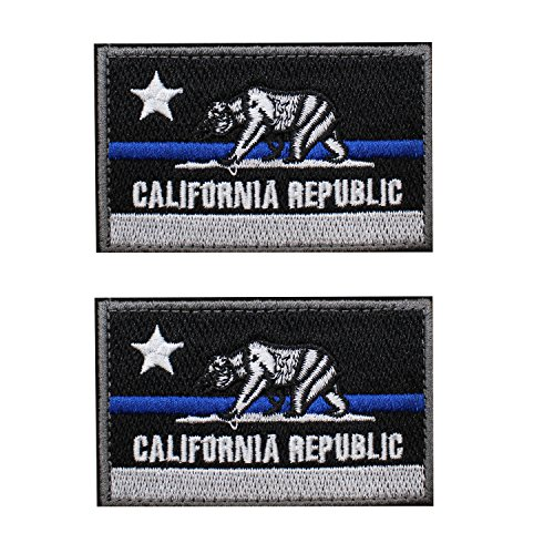 EJG 2 pieces California Tactical Patch Bear Flag 2x3 Military Patch Morale Patch With Hook & Loop - Embroidery (Black and blue lines) (Bear Flag Patch)
