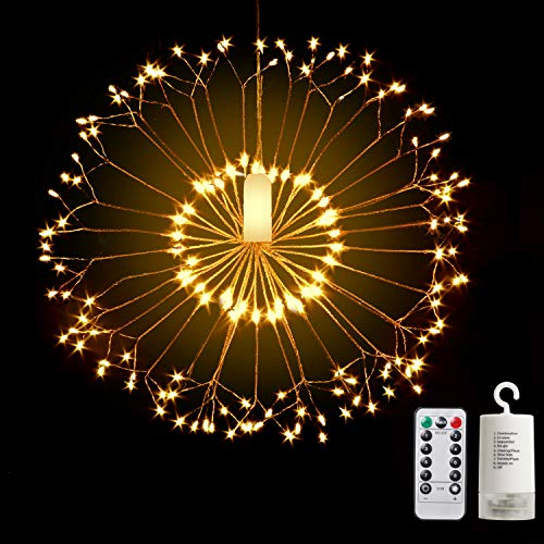 Letlar Firework Copper Lights,8 Modes Dimmable String Fairy Lights with Remote Control, Waterproof Hanging Starburst Lights for Ceiling Bedroom Christmas Party Decor Outdoor Dinner (1P, Dandelion-2)